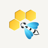 Bee and honeycomb logotype. Colorful, stylized Royalty Free Stock Photo