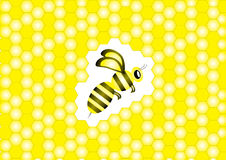 Bee and honeycombs. Bee with stripes over yellow honeycombs background Stock Photography