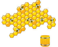 Bee and honeycombs Royalty Free Stock Images
