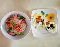 Bee hoon belacan with fried egg. Breakfast with Bee hoon Kolo mee& x28;dry rice vermicelli& x29; and fried egg.One of Sarawakian favourite breakfast dish stock image