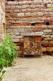 Bee hotel at medieval chateau Stock Images