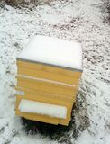 Bee house with snow Royalty Free Stock Photo