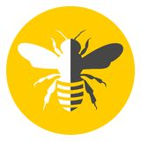 Bee icon black and white Stock Photography