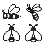 Bee icon in four variations. Vector eps 10. Royalty Free Stock Image