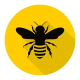 Bee icon with long shadow Stock Image