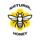 Bee icon. Natural honey package logo. Bee icon with honeycimbs back. Natural honey package logo royalty free illustration