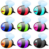 Bee icon set Royalty Free Stock Photos