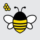 Bee icon. Yellow, black and white colors. Vector vector illustration