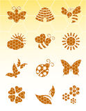 Bee icons on isolated background Royalty Free Stock Photo