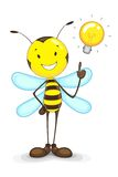 Bee with Idea Bulb. Vector illustration of bee with idea bulb above head Royalty Free Stock Images