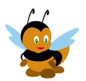 Bee illustration. Funny little bee vector illustration Stock Photo