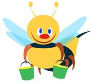 Bee illustration two. Funny little bee vector illustration Royalty Free Stock Photo