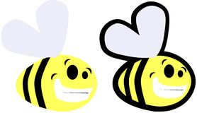 Set of cartoon Bee isolated Royalty Free Stock Photo