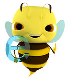 Bee internet. The bee holds an Internet sign Stock Photography
