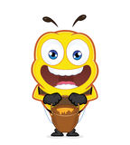 Bee with a jar of honey. Clipart picture of a bee cartoon character with a jar of honey Royalty Free Stock Images