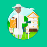 Bee-keeper at apiary vector illustration. Royalty Free Stock Photography