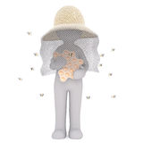 Bee Keeper with Honeycomb and Surrounded by Bees Stock Image