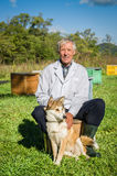 Bee-keeper and husky Stock Image