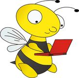 Bee with laptop Stock Photo