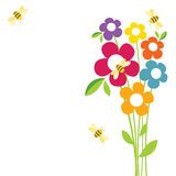 Bee Life. Spring flowers that the bees in flight Stock Photo