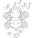 Bee listening to music coloring page Stock Images