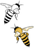 Bee Logo. Illustration of bee logo in black and white or colored yellow stock illustration