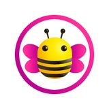 Bee logo, colorful illustration stock illustration