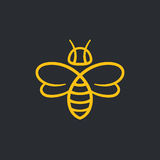 Bee Logo design. Bee or wasp logo design vector illustration. Stylish minimal line icon Royalty Free Stock Photography