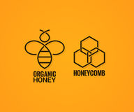 Bee logo and honeycombs label on yellow background Stock Image