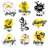 Bee logo. Sweet honey logo. Handmade logotype on the theme of beekeeping. Natural bee products. Royalty Free Stock Images