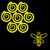 A Bee Logo. A yellow bee and at black background royalty free illustration