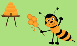 Bee and lollipop Royalty Free Stock Image