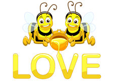 Bee in love. The couple bees in love Royalty Free Stock Photo