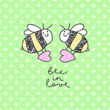 Bee in love card. Vector bees couple with hearts, greeting card template Royalty Free Stock Photo