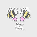 Bee in love card. Vector bees couple with hearts, greeting card template Stock Photos