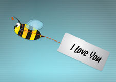 Bee love. Illustration of bee with red hearts Royalty Free Stock Image