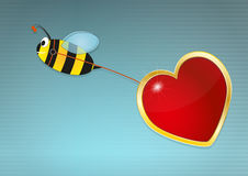 Bee love. Illustration of bee with red hearts Royalty Free Stock Images