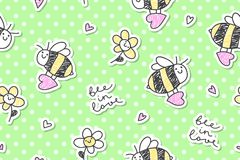 Bee in love seamless. Bee in love,  seamless pattern of bees, hearts and flowers Stock Images