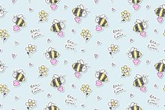Bee in love seamless. Bee in love,  seamless pattern of bees, hearts and flowers Stock Photography