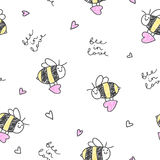 Bee in love pattern. Bee in love,  seamless pattern of bees, hearts and lettering Royalty Free Stock Photo