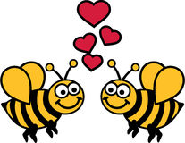 Bee love. Two comic bees in love with hearts Stock Images