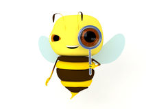Bee magnifier. The bee looks in a magnifier stock illustration