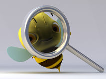 The bee with a magnifier. The bee looks in a magnifier vector illustration
