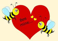 Bee mine. Cute vector illustration with bees in love vector illustration