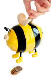 Bee moneybox Stock Image