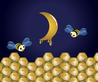 Bee and moon. Bee with comb and honeymoon on dark sky stock illustration