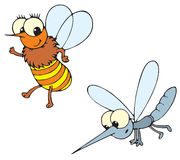 Bee and mosquito (vector) stock illustration