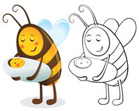 Bee mother and child. Color and contour illustration Royalty Free Stock Photography