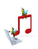 Bee and musical note. A cartoon honeybee flying with musical note and laptop on white background Royalty Free Stock Photo