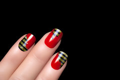 Bee. Nail Art. Stickers Animal Print. Fashion animal print stickers. Manicure and Nail tattoo. Closeup of woman hands with bee nail art. Hands isolated on black royalty free stock photos